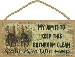 My Aim is to Keep This Bathroom Clean Black Bear Bath Sign Plaque Cabin Decor 5