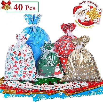 FEPITO 15Pz Sacchetti Regalo Natalizio Tela Borse di Cordoncino Natalizie Piccoli Sacchetti di Iuta di Natale Sfusi per Forniture per Feste di Natale