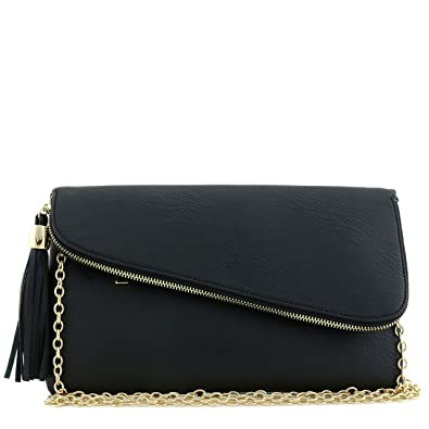 Large Envelope Tassel Accent Wristlet Clutch Bag with Chain Strap ...