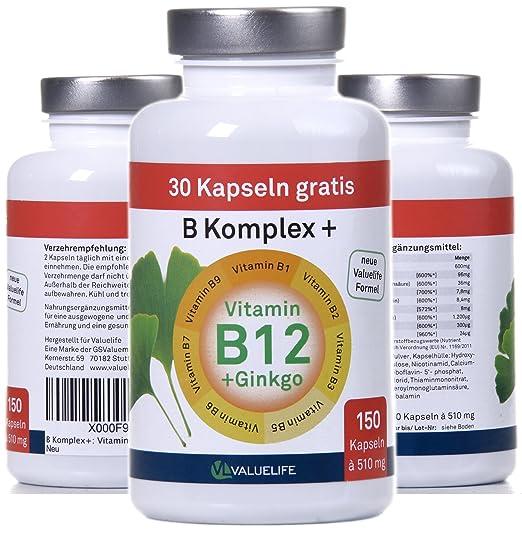 Vitamine B Komplex: Vitamina B1 + B2 + B3 + B5 + B6 + B7 + B9 + B12 und + Ginkgo! 150 Cápsulas- 1x76g: Amazon.es: Salud y cuidado personal