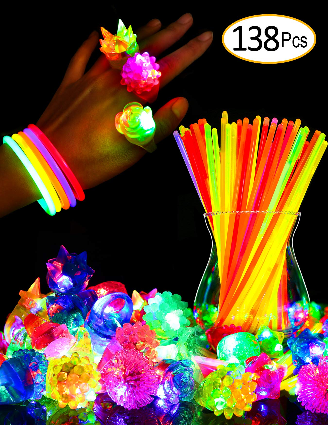 SIONE 138 Pack Glow Sticks Bulk Light Up Rings Party Favor for Kids Glow in The Dark Party Supplies 38 Flashing Glow Rings+100 Glow Sticks by SCIONE