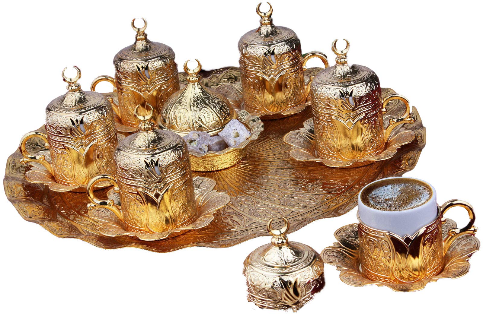 Gold Case Gold plated METAL Turkish, Arabic, Greek and Espresso Coffee Set for 6 - Made in Turkey - 27 pieced set with Bowl, Gold