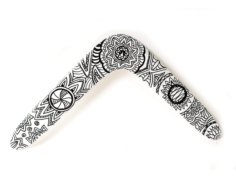 Boomerang de madera, boomerang detalle Mandala Zentangle Doodle, boomerang niños y adultos. Regalo, decoración, deporte, ocio . ZURDO.Ideal regalo cumpleaños, regalo boda, regalo cumpleaños.