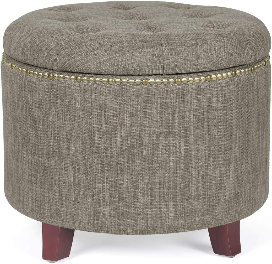 Adeco Fabric Cushion Round Button Tufted Lift Top Storage Ottoman Footstool Rivet Design, Height 17 Inches, Brown