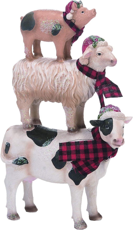 Transpac Multi Christmas Stacked Farm Animals