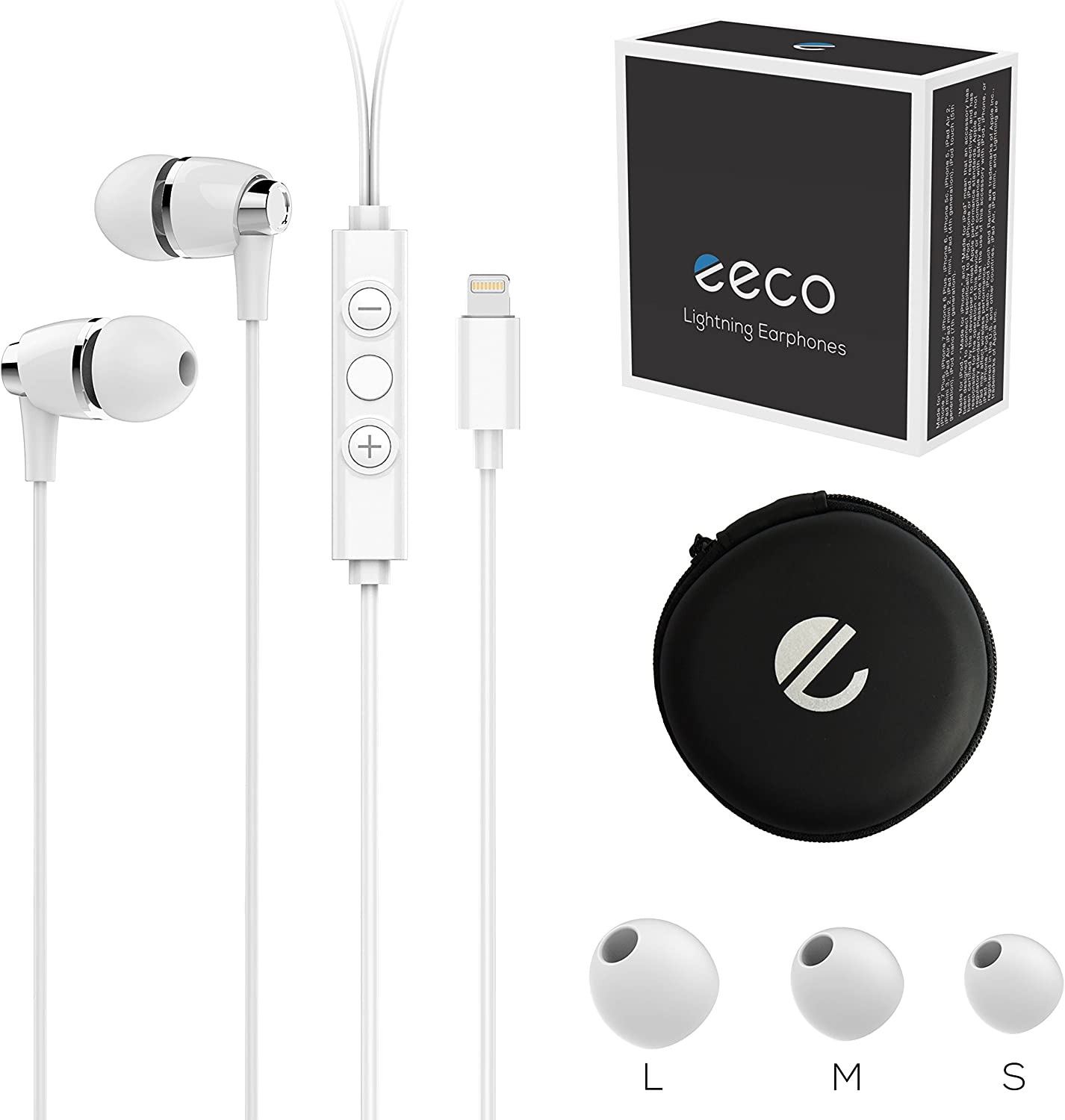 eeco Hi-Fi Earbuds with Metallic ABS Built, in-Ear Noise-Isolating Headphones Wired Earphone with Remote and Mic Compatible with iPhone 11,11 Pro, iPhone X, iPhone 8/7/6s/Plus, iPad Pro and More