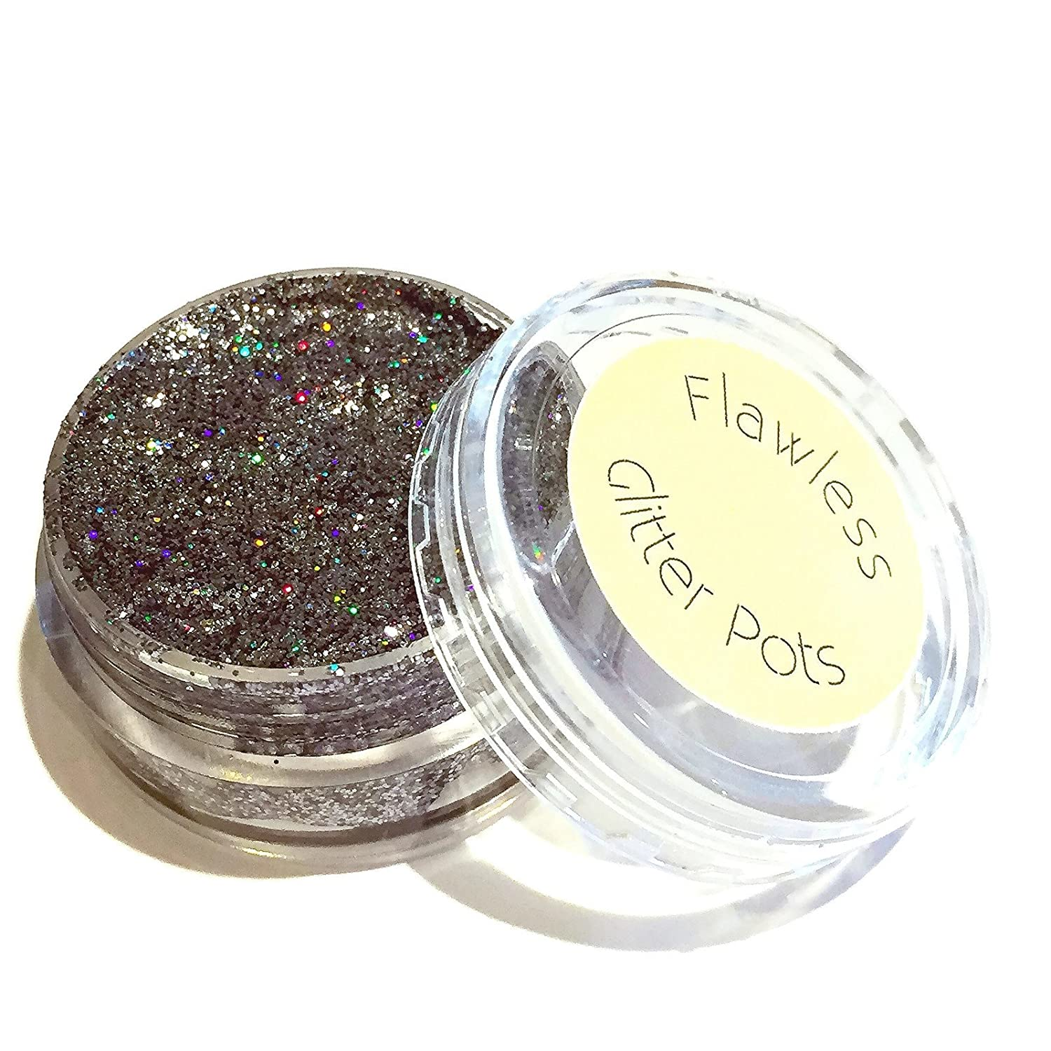 Flawless Glitter Pot - Outer Space, holo grey silver pressed eyeshadow. No adhesive required, vegan, eco-friendly, cruelty free