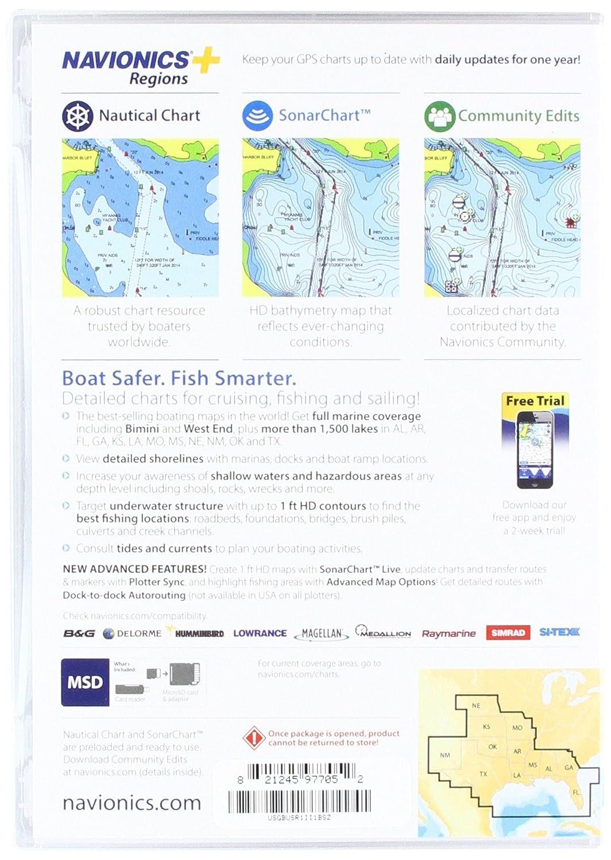 Navionics Plus Regions South Marine and Lake Charts on SD/MSD