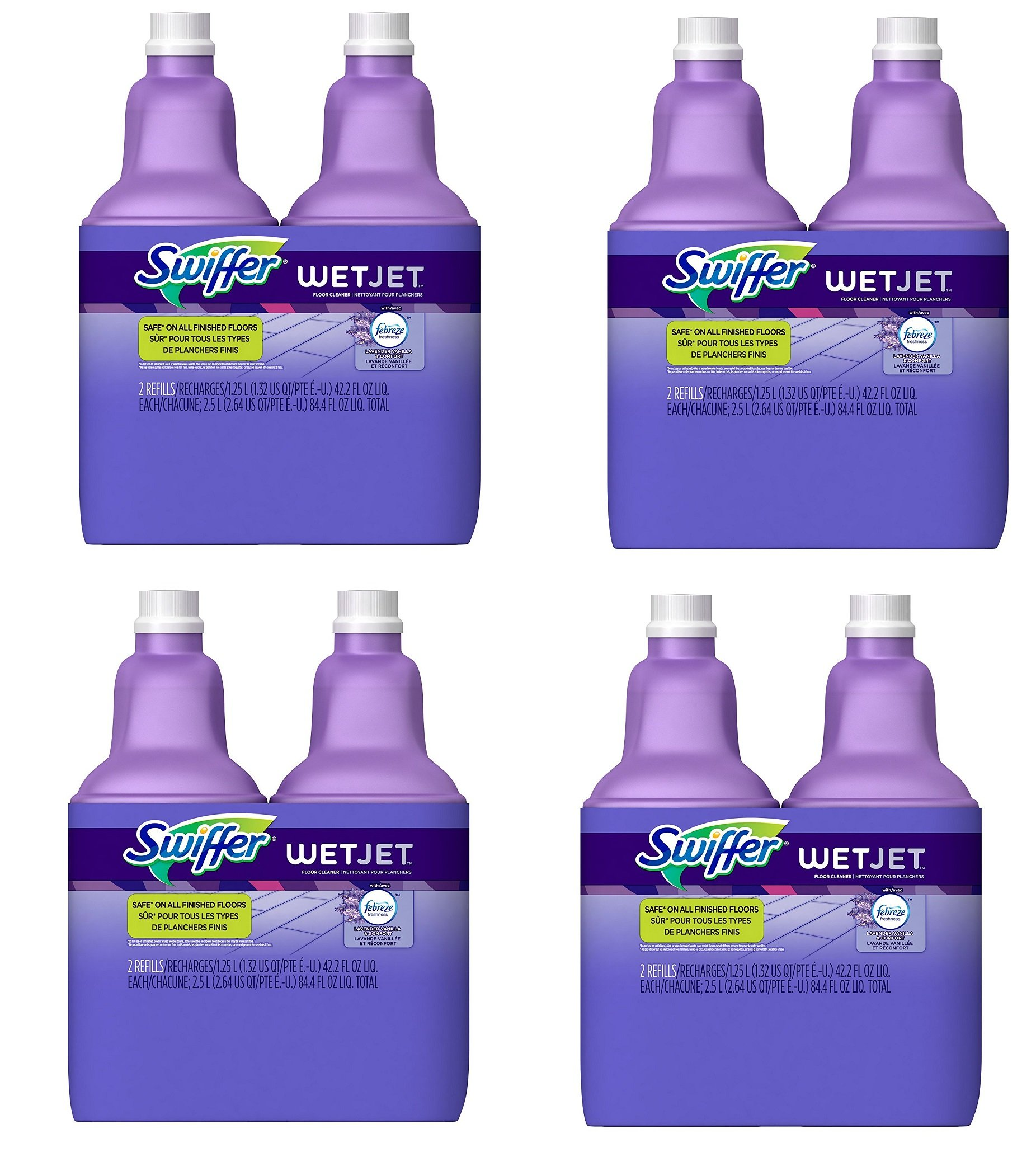 Swiffer WetJet Multi-Purpose Floor and Hardwood Cleaner Solution with Febreze Refill, Lavendar Vanilla and Comfort Scent, 1.25 Liter, OKpFMr 8 pack