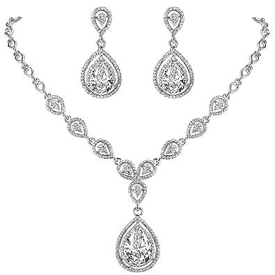 TENYE Austrian Crystal CZ Wedding Teardrop Pierced Dangle Earrings Clear Silver-Tone EGlJZMSsBF
