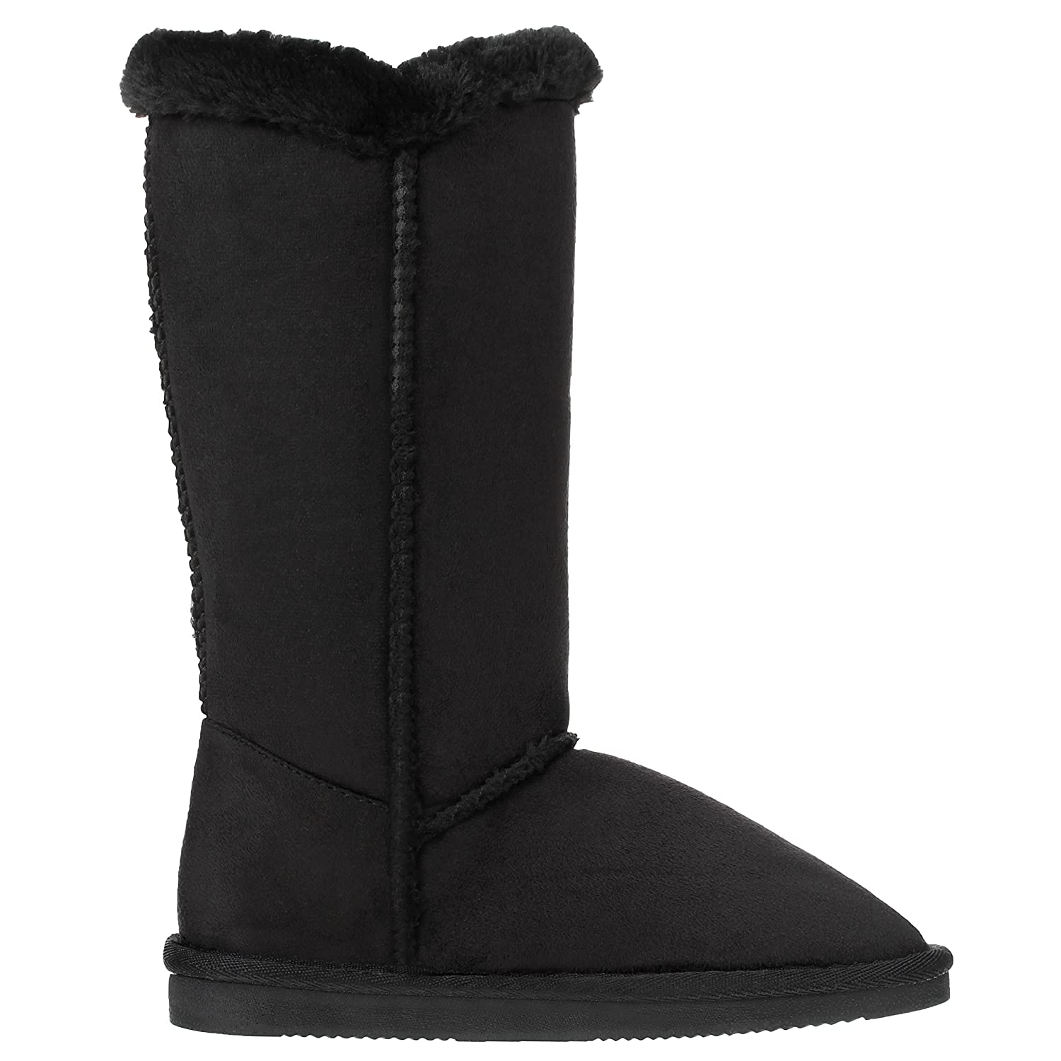 CLOVERLY Girls Kids Four Button Faux Fur Lined Shearling Mid Calf Winter Boots