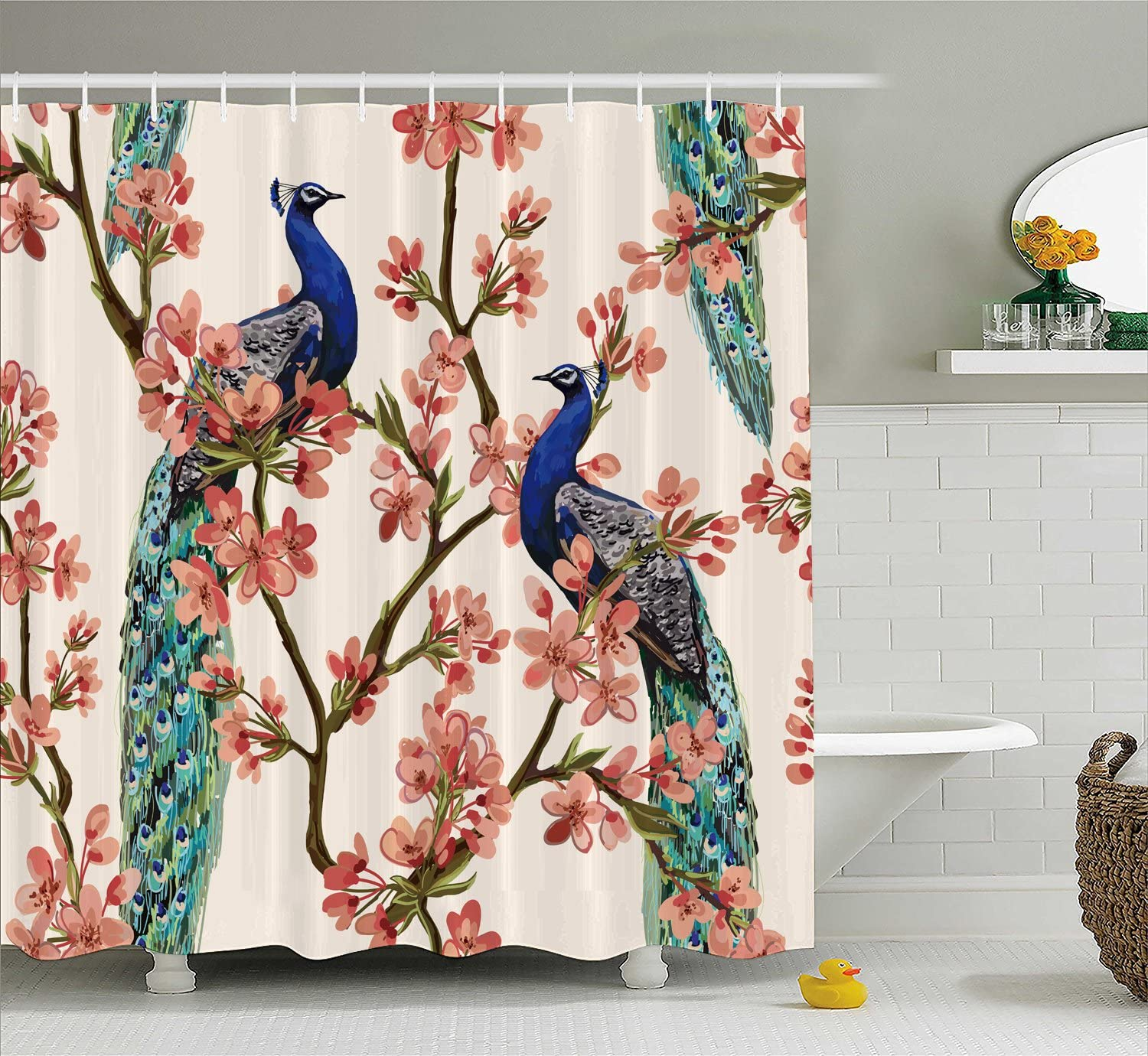 Manerly Shower Curtain with Peacock Tropical Flowers Pattern,Polyester Fabric Waterproof Bath Curtains