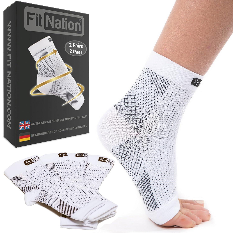 Fit Nation - (2 Paar) Kompressionssocken / Fußgelenk Bandage für effektive Kompression beim Laufen & Sport - Kompressionsstrümpfe für Damen & Herren Physix Gear Sport