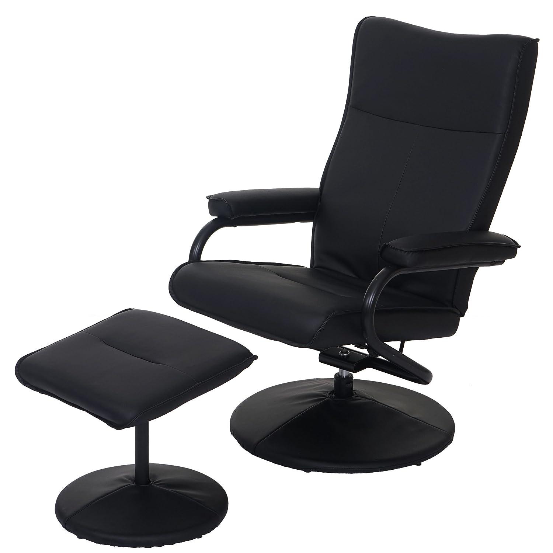 Fauteuil relax Leeds - fauteuil de télévision - avec tabouret - similicuir ~ noir