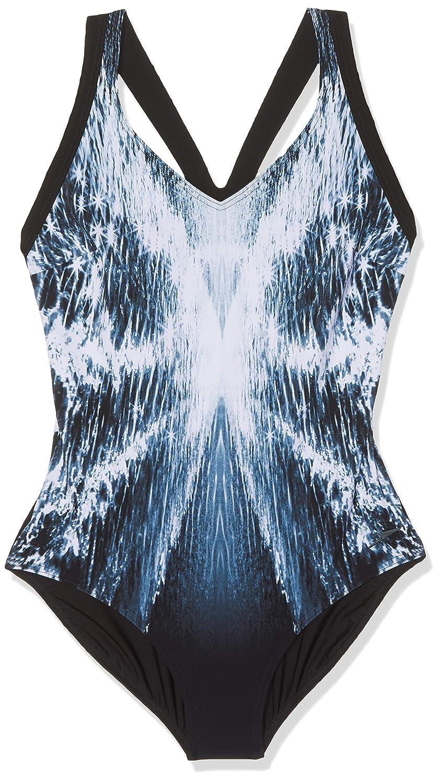Shimmer Illusion Blk Wht Oxide Taille 46 Speedo Opalweb Maillot de Bain 1 pièce pour Femme