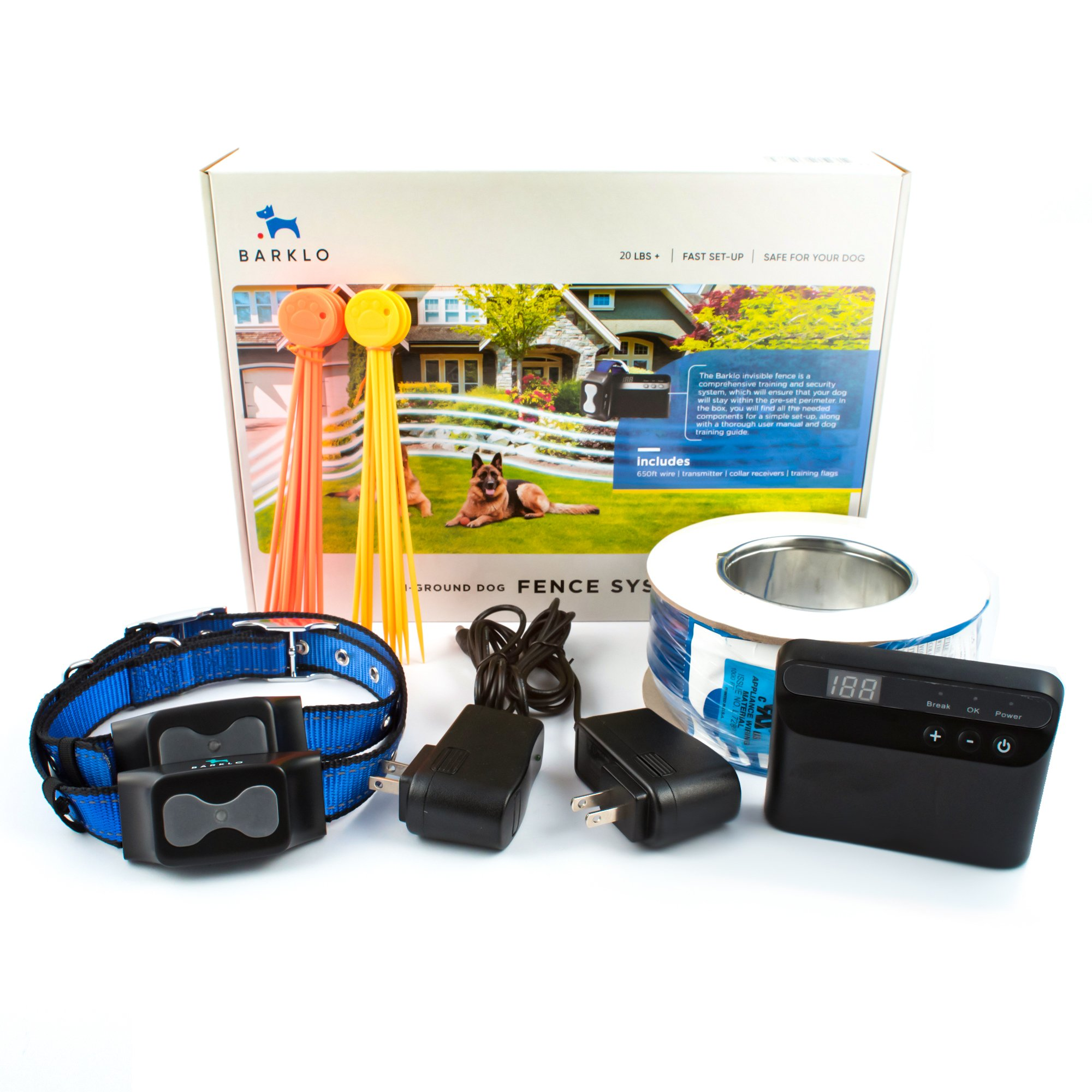 Invisible Fence Underground Dog Containment System by Barklo Wireless Electric Perimeter Fence with 2 Shock Collars for Medium to Large Dogs And Pets