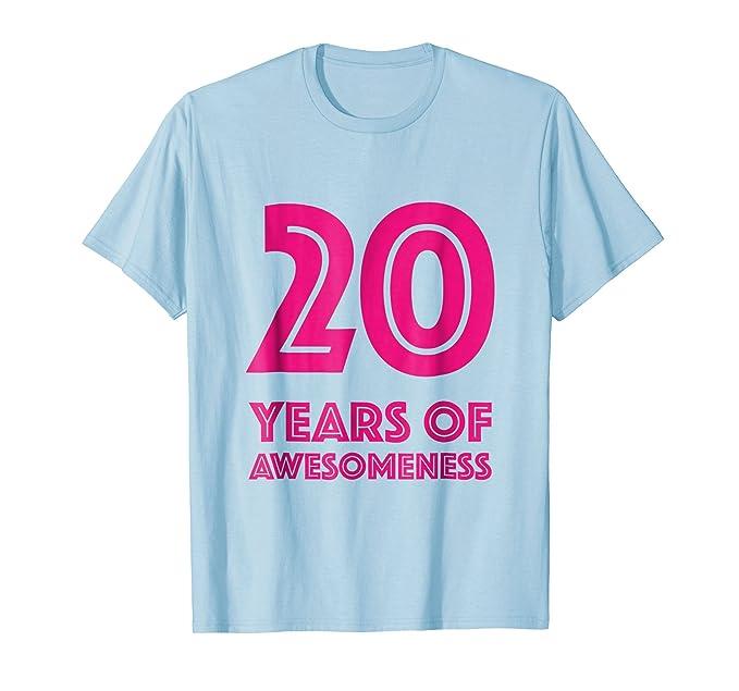 Mens 20th Birthday Shirt Gift Girls Age 20 Year Old Women Tshirt 2XL Baby Blue