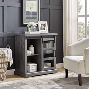WE Furniture Modern Farmhouse Buffet Entryway Bar Cabinet Storage, 32 Inch, Grey