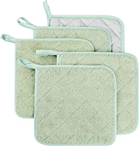 Lifaith 100% Cotton Kitchen Everyday Basic Terry Pot Holder Heat Resistant Coaster Potholder for Cooking and Baking Set of 5 Mint Green