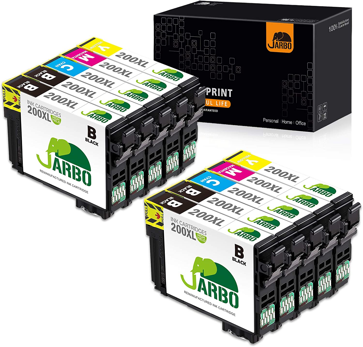 JARBO Remanufactured Ink Cartridge Replacement for Epson 200XL 200 XL T200XL to use with XP-200 XP-300 XP-310 XP-400 WF-2520 WF-2530 WF-2540 Printer ...