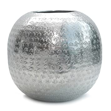 Amazon De Vase Aluminium Gehammert Kugelvase Metall Silber