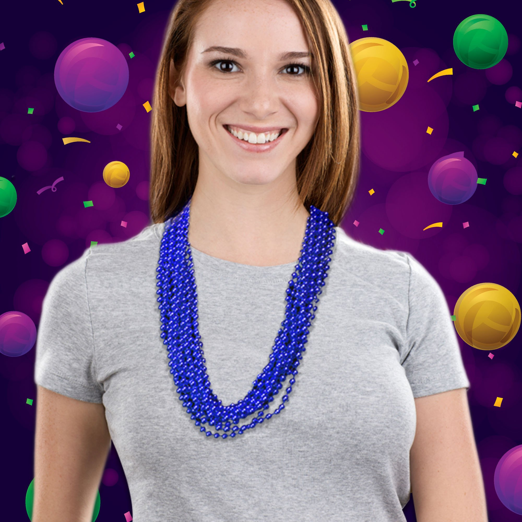 Blue Mardi Gras Beads 33'' Inches - 12 Pack