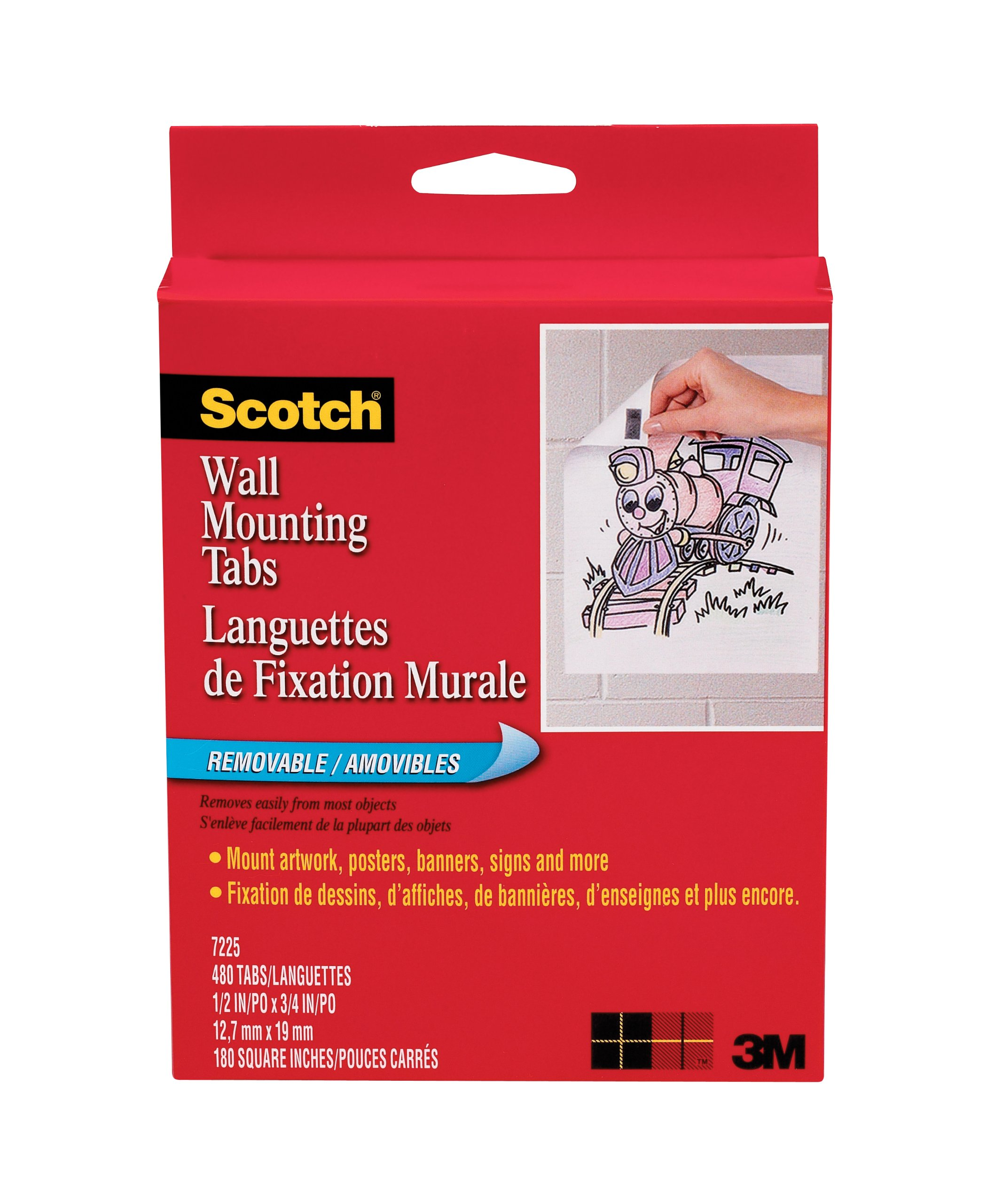 Scotch Wall Mounting Tabs 7225, 1/2-inch x 3/4 Inches, 480 Tabs per Box
