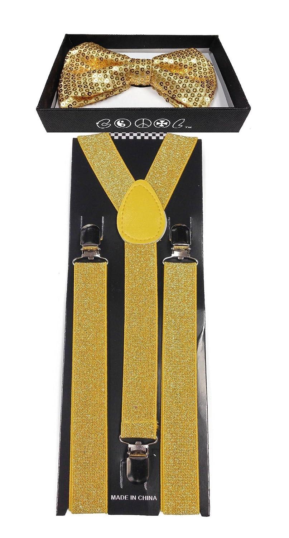 4everStore Unisex's Sequin Bow tie & Suspender Sets (Gold)