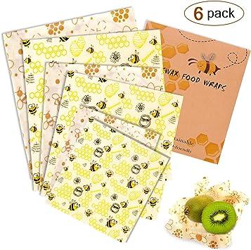 Envoltorio de cera de abeja, juego 6 envoltorios para alimentos, 2 ...