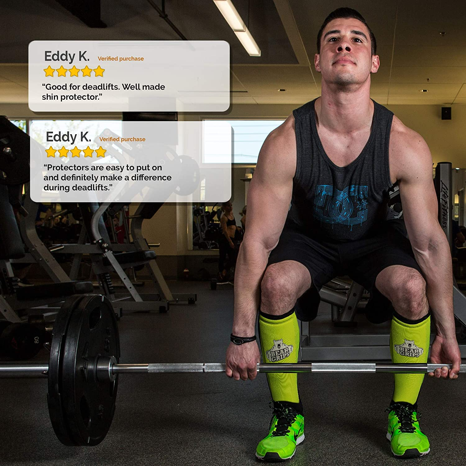 Bear Grips Shin Guard Sleeves for Dead Lifts Lifts Olympic Weight Lifting