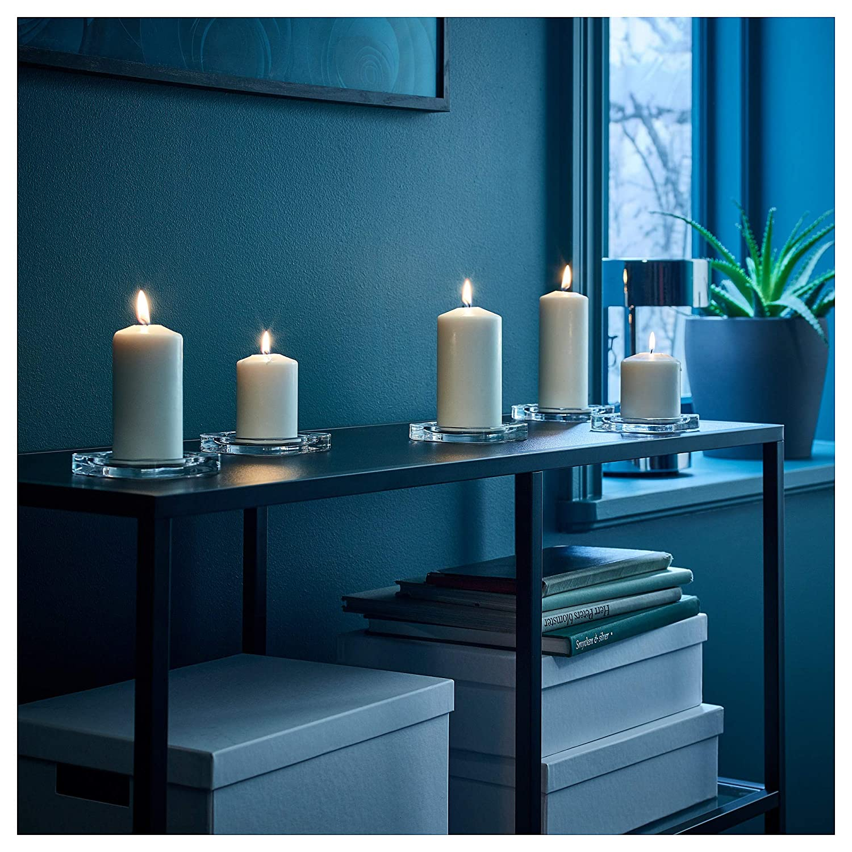 bianco Ikea Fenomen/ /5/Pack Unscented rotonda pilastro candela per matrimonio compleanno festa di Natale /& decorazione domestica