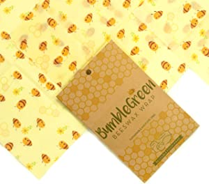Beeswax Food Wrap with Bumble Bee, Pack of 3 Organic Reusable Wrapper, All-Natural Biodegradable Food Grade Storage Beeswax Cloth, Eco-Friendly and Sustainable