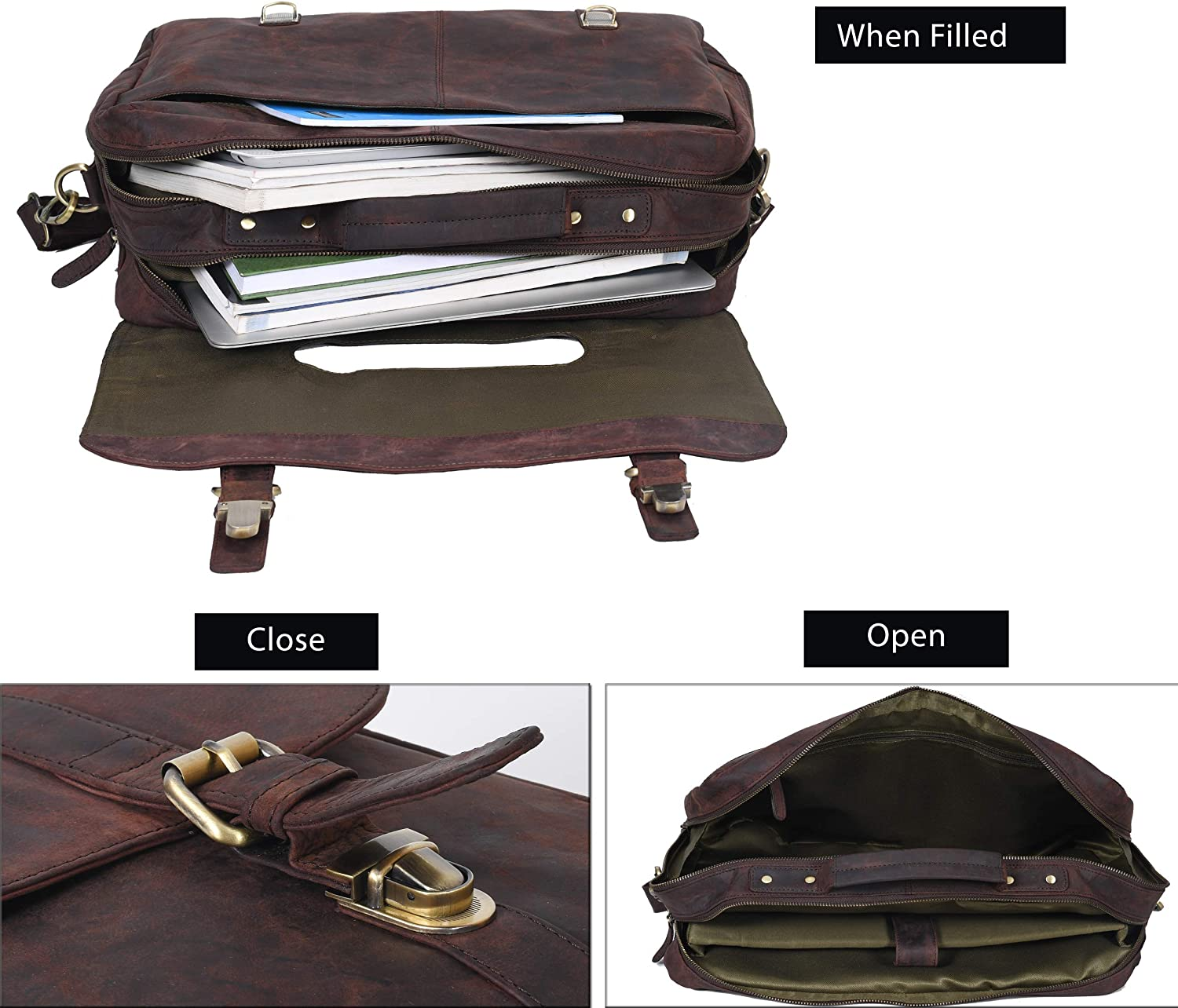 Leather Messenger Bag for Men-15 Inch Office Briefcase RFID Laptop Bag Leather Multi Pocket Satchel Bag