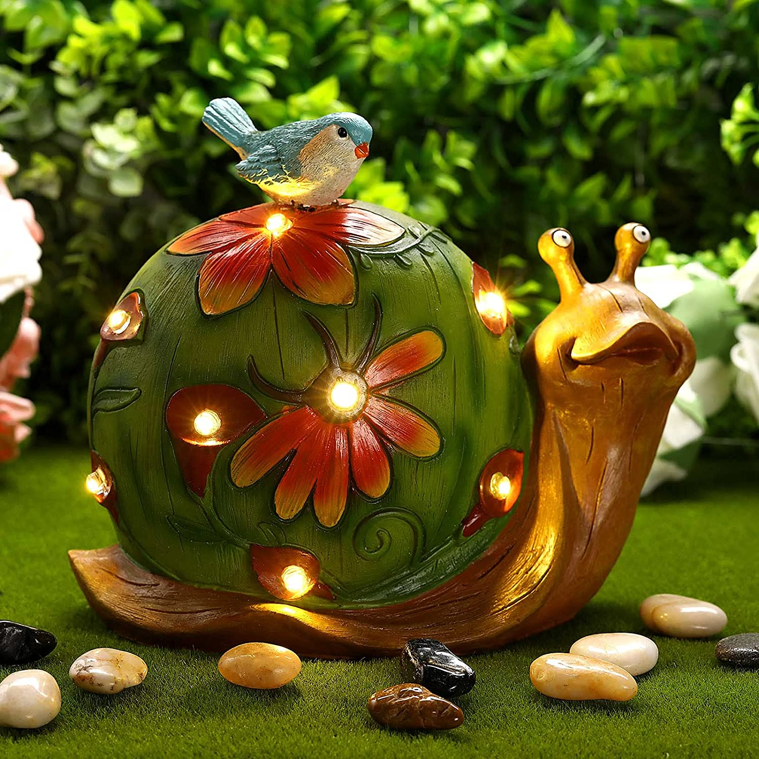 Garden Resin Snail Statue with Led Lights Outdoor Garden Waterproof Figurine Decoration for Patio, Lawn, Yard, Housewarming Ornament (Snail)