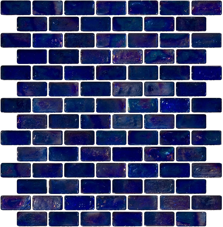 Susan Jablon 3//4 x 1 1//2 Inch Aqua Iridescent Glass Subway Tile