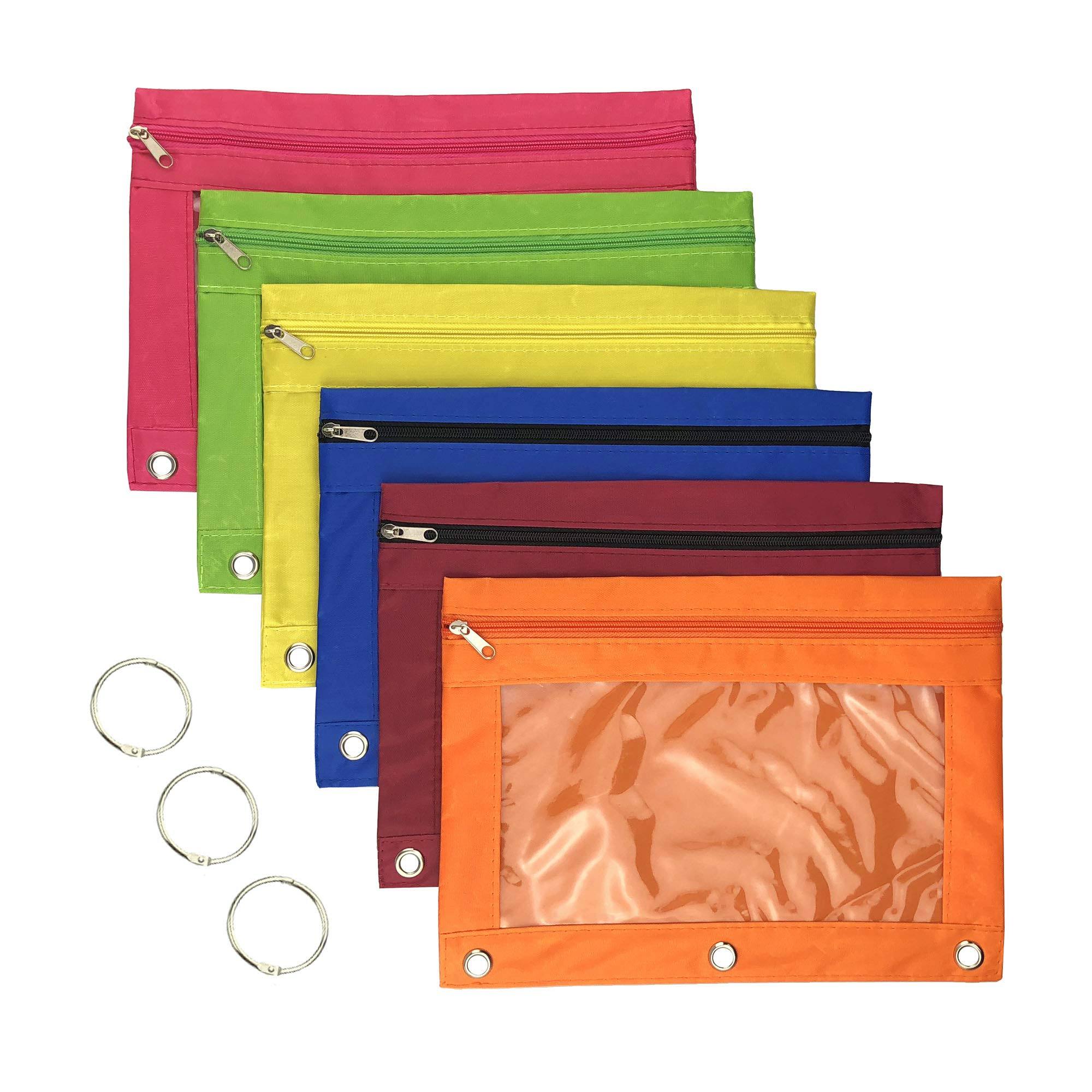 Miukada 3-Ring Pencil Pouches.Zippered Binder Pencil Bags Pencil Cases with Clear Window.Used for Storing School,Office,Artist Supplies.(6 Color Pouches Packed)(Free Bonus of Three 1.5'' Binder Rings)