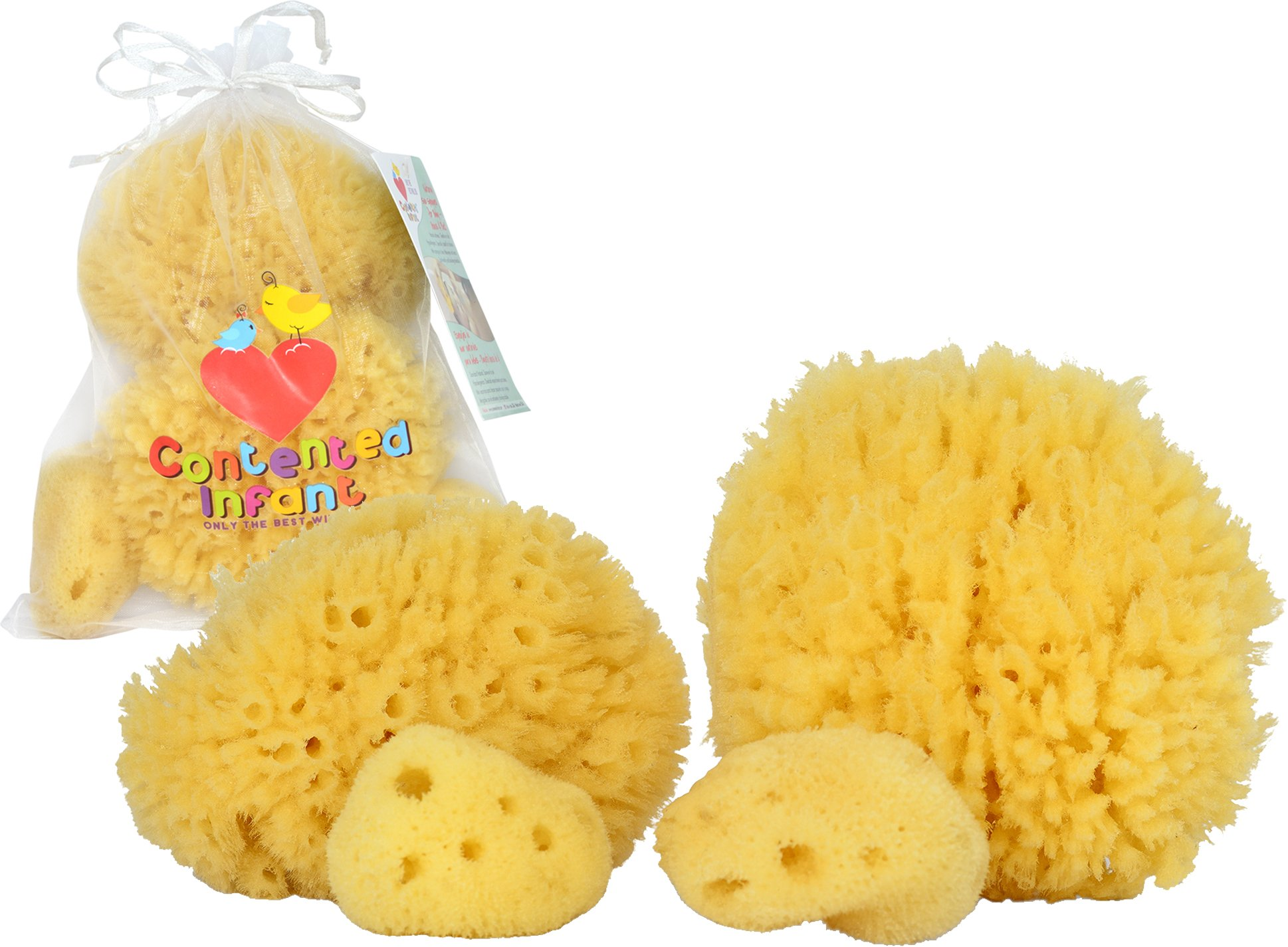 Natural Sea Sponges for Babies - 4 Pack Bath Care Set, Gentle Hypoallergenic, Great for Bathing Washing the Body Eyes & Ears, Also for Newborn Toddler & Kids; Baby Shower Spa Gift by Contented Infant