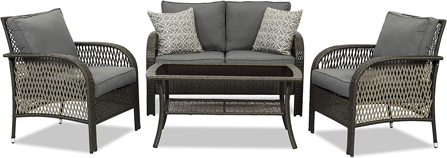 Wisteria Lane Outdoor Furniture Sets, 4 Piece Patio Weather Resistance Wicker Conversation Set, Hand-Knitted Rattan Sofa with Glass Coffee Table and Removable Thick Grey Cushions