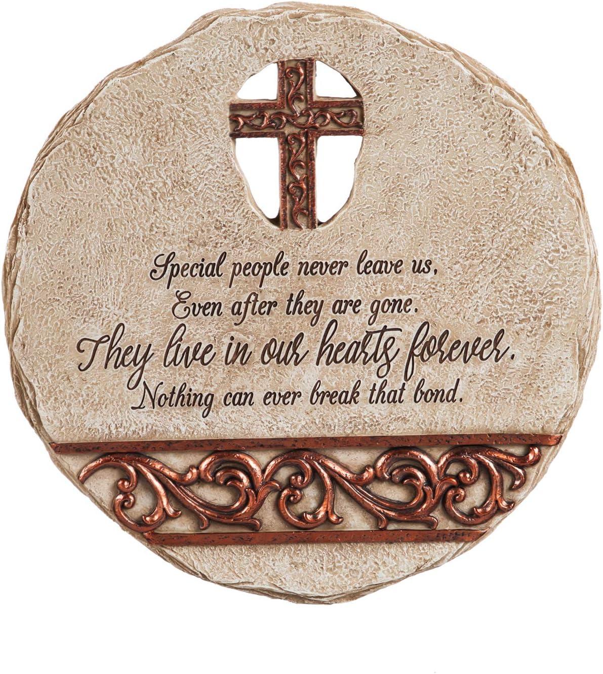 """Evergreen Garden 11"""" Memorial Garden Stone, Bronze Scroll Cross Cut Out"""