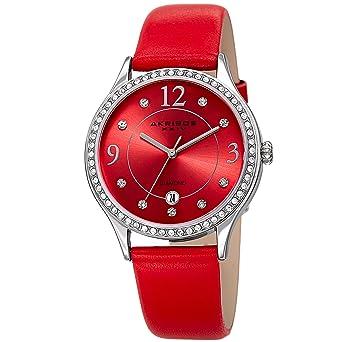 cf720ba974378 Akribos XXIV à Quartz pour Femme Diamant et Cristal Swarovski Argenté et  Bracelet Cuir Rouge Montre