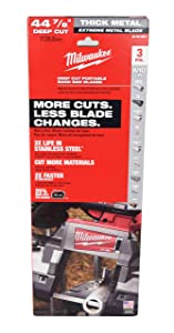 Milwaukee 48-39-0601 44-7/8 in. 8/10 TPI Metal Deep Cut Extreme Band Saw Blade (3-Pack) replaces 48-39-0501