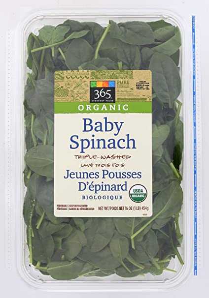 365 Everyday Value, Organic Baby Spinach, 16 Oz by Amazon