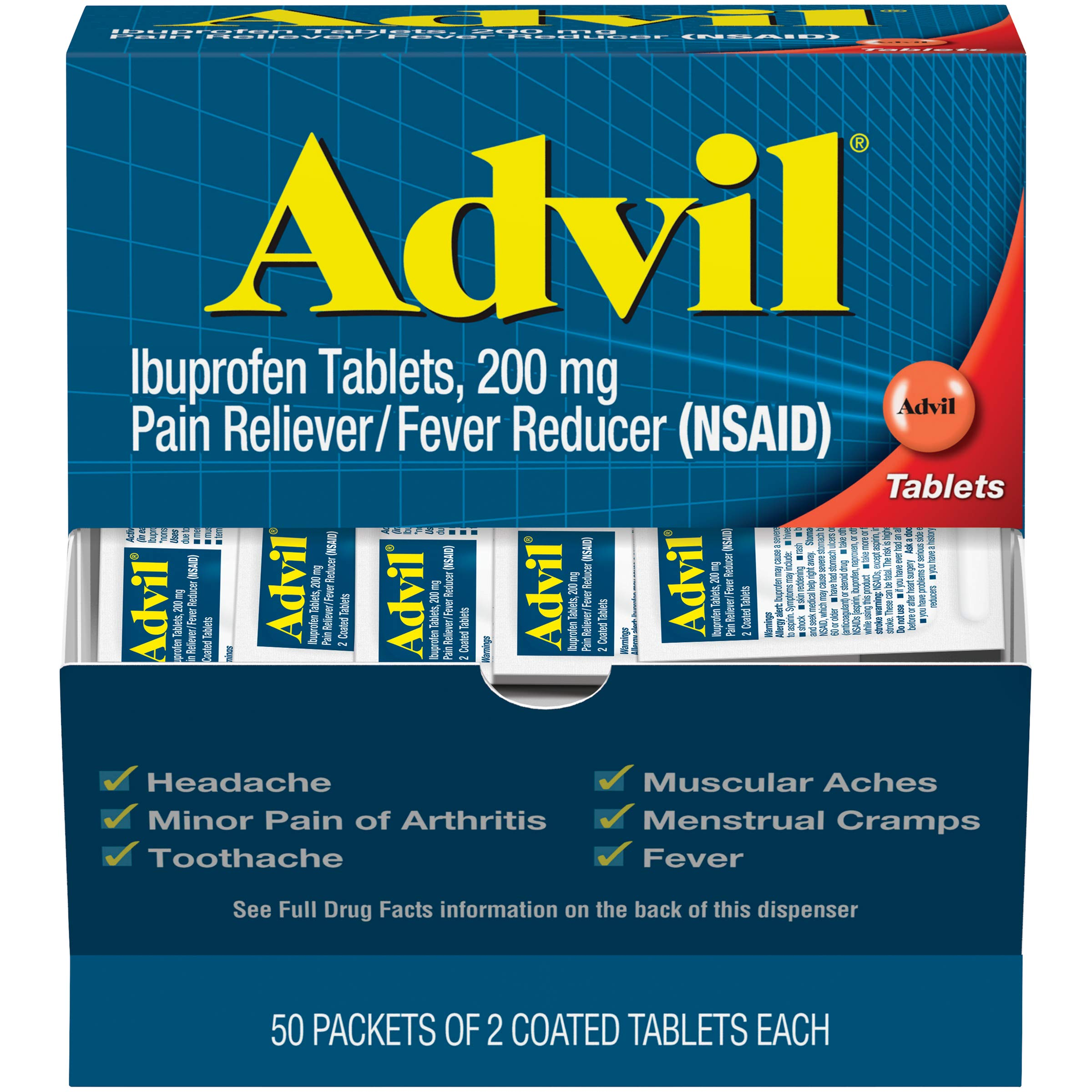 Advil Coated Tablets Pain Reliever and Fever Reducer, Ibuprofen 200mg, 100 Count (50 Packets of 2 tablets), On the Go Pain Relief, 2 Count (Pack of 50)