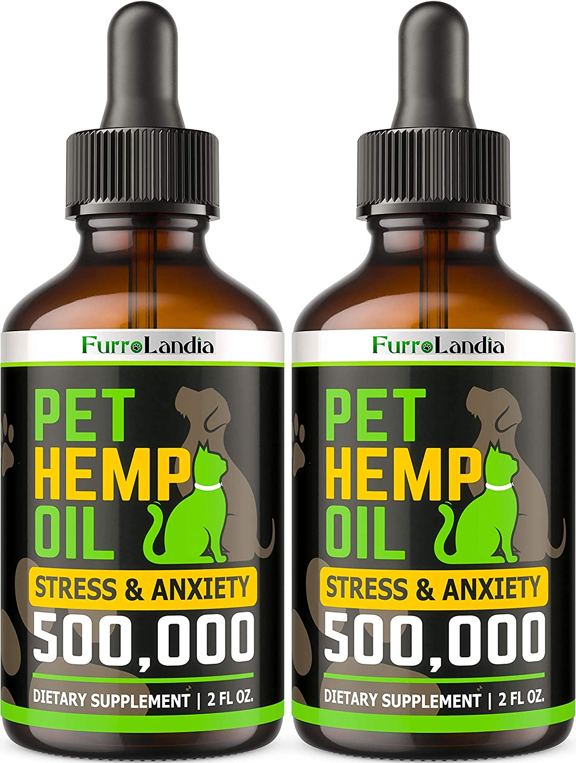(2 Pack) Hemp Oil for Dogs and Cats - 500,000 - Separation Anxiety, Joint Pain, Stress & Inflammation Relief - Pet Hemp Oil Calming Drops - Dog Calming Aid - Rich in Omega 3 6 9 | Made in USA
