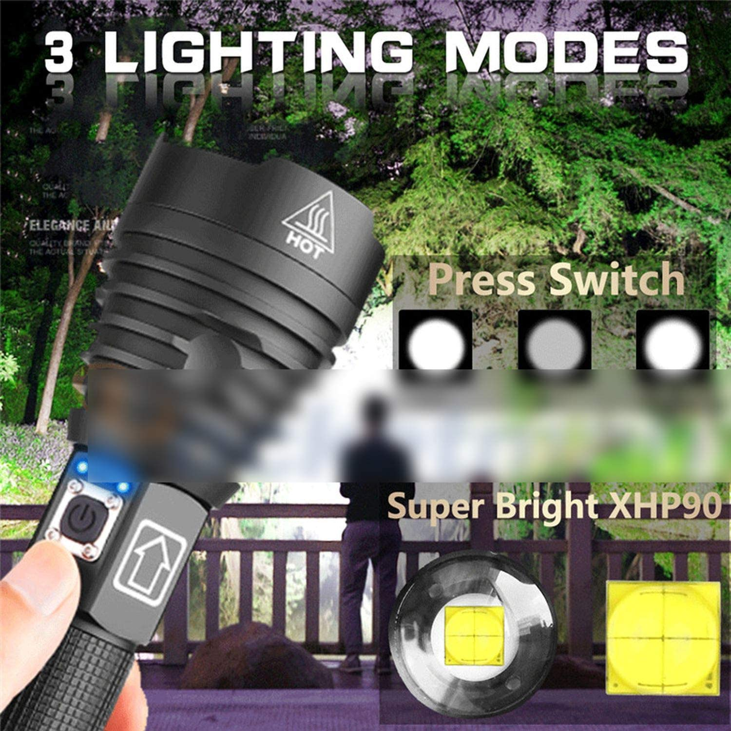 Tactical Zoomable XHP50//XHP90 LED USB Flashlight Torch Super Bright Hunting Lamp