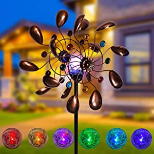 ALLADINBOX Solar Wind Spinner 75in Bronze Metal with Multi-Color LED Changing Solar Powered Glass Ball with Kinetic Windmills Dual Direction Wind Sculpture Spinners Decor for yardwind Garden Outdoor