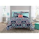 8pc Girls Navy Medallion Pattern Comforter Full Set, Elegant HighEnd Mandala Floral Design, Stylish Bohemian Boho Themed, Abstract Colors Blue Orange, Geometric Bedding