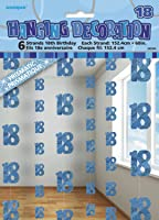 5ft Hanging Glitz Blue 18th Birthday Decorations, Pack of 6