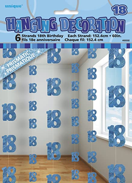 Amazon 5ft Hanging Glitz Blue 18th Birthday Decorations Pack