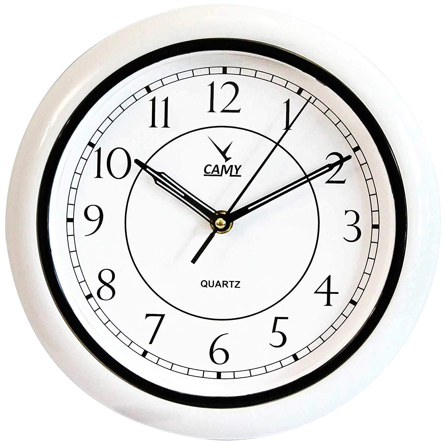 CAMY Wall Clock - Super Silent Non Ticking Sweeping Hands, 10 Inch Quality Quartz AA Battery Operated Round Easy to Read Wall Clock for Home/Office/Kitchen/Living Room/Classroom (Black, 10 INCH)